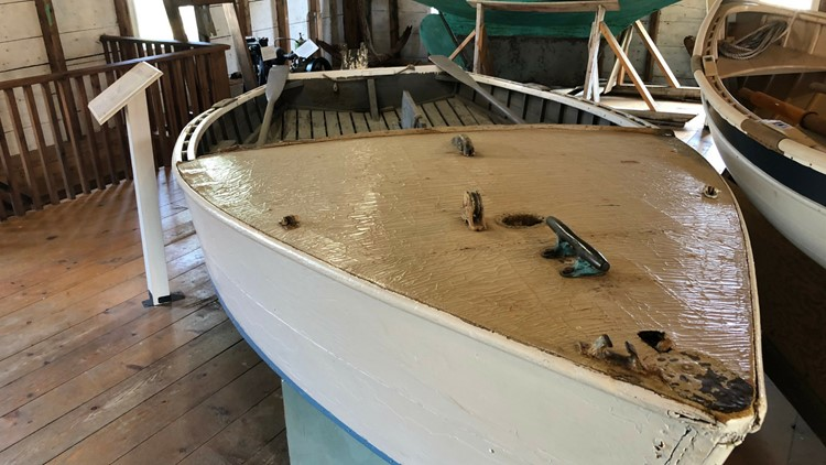 E.B. White's dinghy, Faint Endeavor, is in the collection of the Penobscot Marine Museum in Searsport