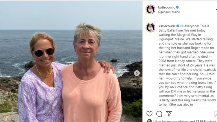 Katie Couric helping widow find lost ring in Ogunquit