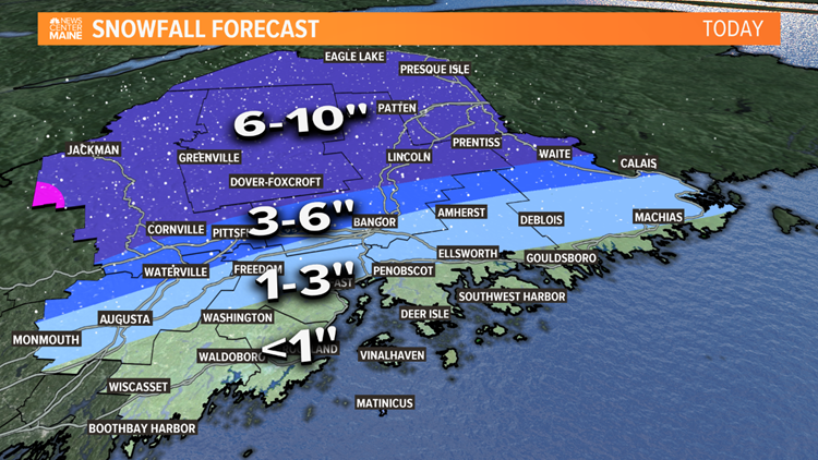 Eastern Maine Snow Map