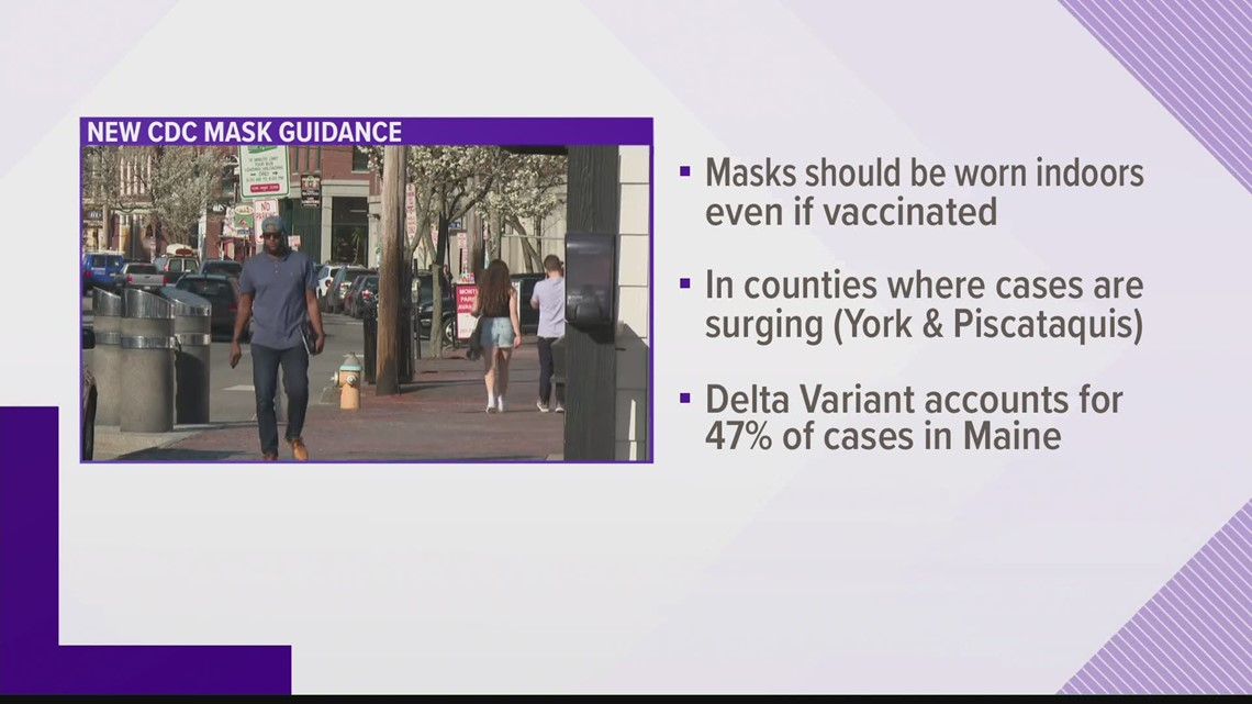 CDC changes masks guidelines, urges face coverings indoors in York and Piscataquis counties