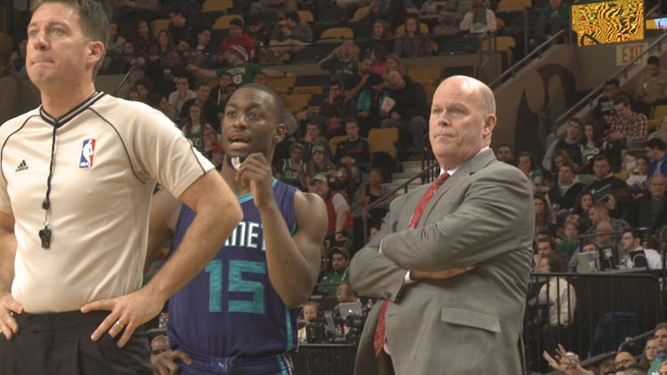 Steve Clifford surveys the parquet in Boston as he coaches the visiting Hornets against the Celtics in a game in January 2015
