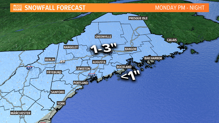 Maine gets a little snow to start the week