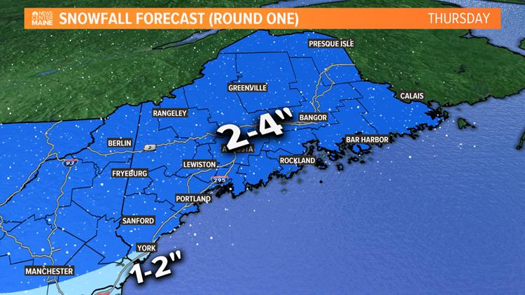 Thursday Snow Map