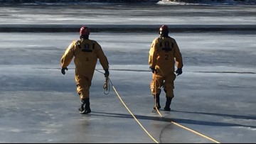 On Thin Ice: Biddeford Fire Department conducting ice rescue training on Saco River