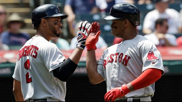 Devers drives Indians bonkers as hit streak reaches crazy eight