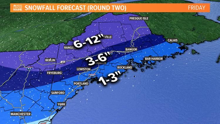 Friday Snow Map