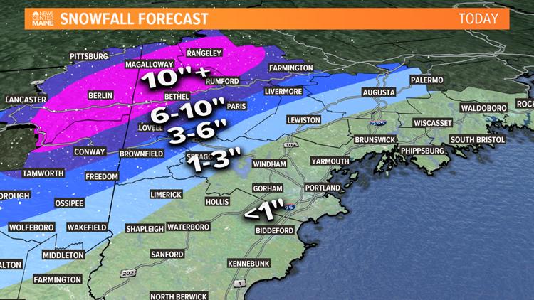 Western Maine Snow Map
