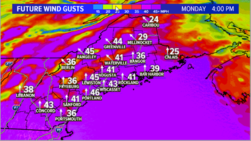 Heavy rain, strong wind gusts in Maine on Monday