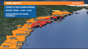 Wind and power outage risk highest along Maine coast Thursday morning