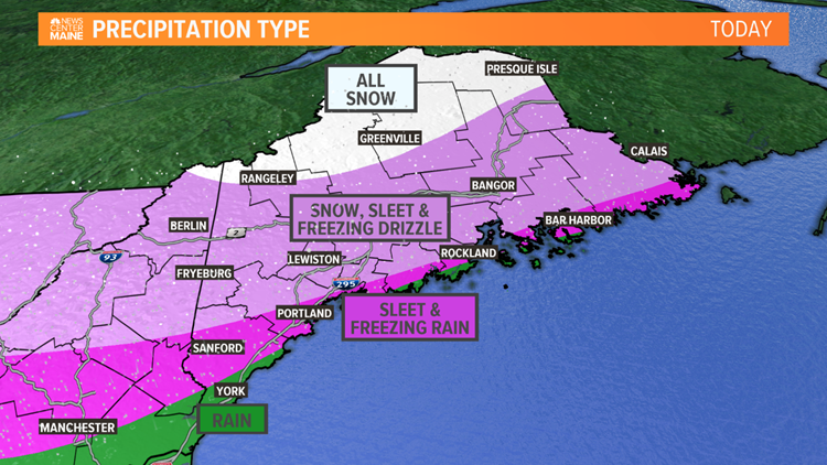 Messy wintry mix hitting Maine