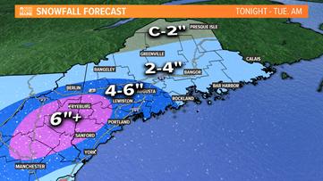 Spring snow to hit Maine Monday night