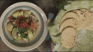 Guatemalan handmade tortillas with chicken soup