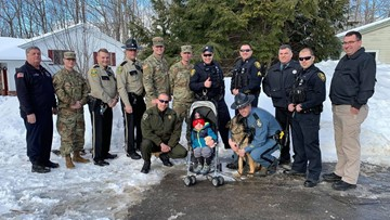 Augusta boy with rare brain defect greeted by first responders, K-9