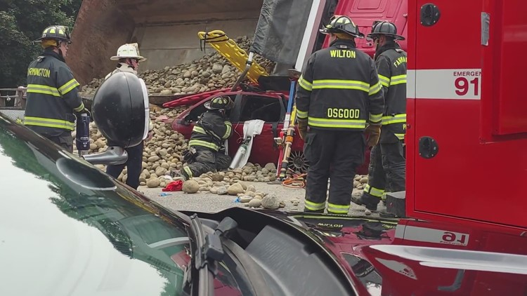 Six sent to hospital after dump truck rolls over partially lands on a smaller car in Wilton