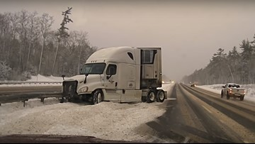 Maine State Police posts alarming video of tractor-trailer crashing on slick roads