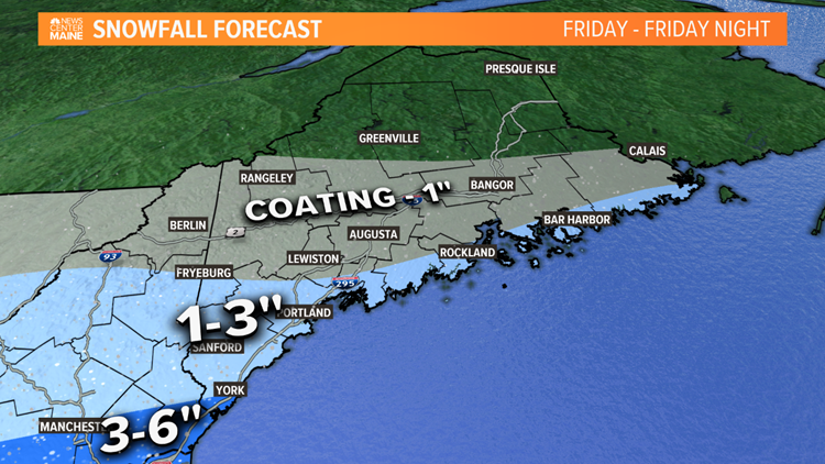 Friday snow looks like long duration, low impact event in Maine