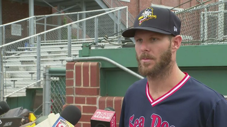 Red Sox pitcher Chris Sale threw at Hadlock Field Tuesday