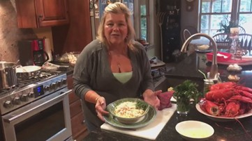 Chef Lynn Archer's at home making Lobster Alfredo