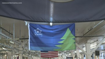 Maine Company Stitching Bicentennial Flags