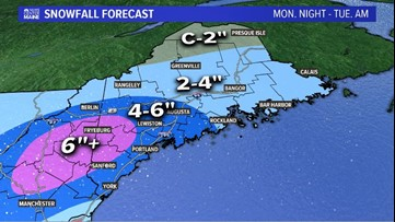 Spring snowstorm Monday night, near 50 Tuesday afternoon