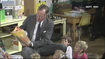 'The Big Hungry Bear,' as read to Lewiston kindergarteners by President Bush