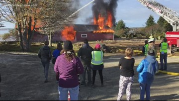Firefighters burn old beach pavilion, say goodbye 'to a friend'