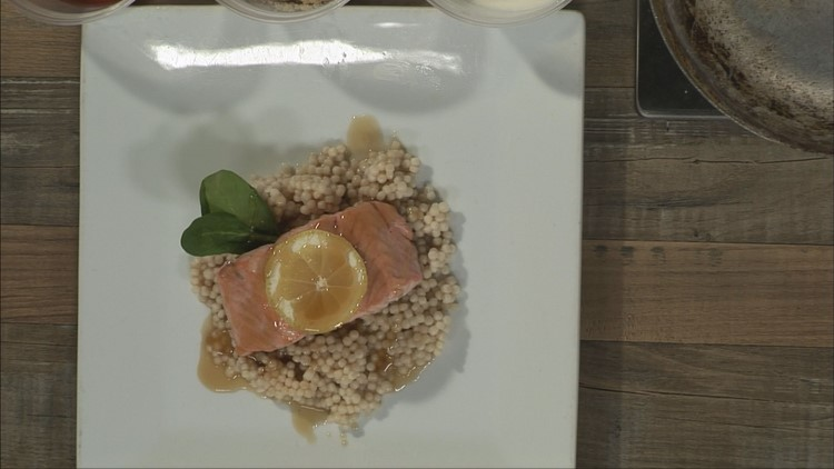 Grilled bourbon brown sugar-glazed salmon and couscous
