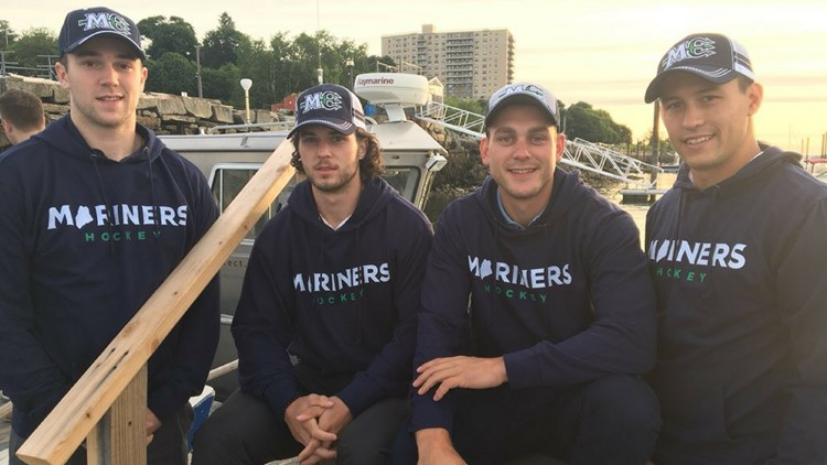 On the same day the Maine Mariners revealed their jersey, the team also introduced four new players: Derek Pratt, John Furgele, Trevor Fleurent of Biddeford and Matias Cleland