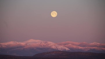 Clear viewing of the full 'pink' moon in Maine