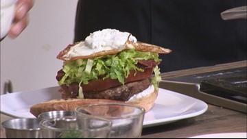 Lamb Brunch Burger with Lamb Bacon and Tzatziki Sauce