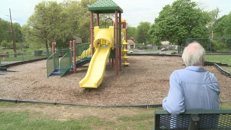 Joe Kennedy sits in San Giacomo park in New Windsor, one of Marissa's favorite places to play.