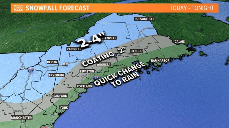 Snow, rain move through Maine Saturday