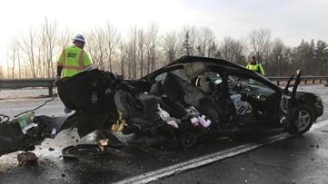 Driver hits black ice on I-95 in Waterville, spins sideways into other vehicle