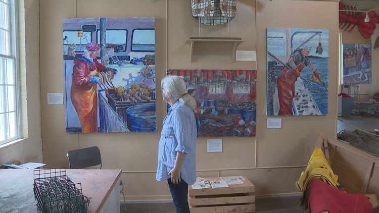 Art display pays homage to lobstering women of Maine