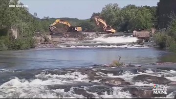 Saccarappa Falls dam demo begins in Westbrook on Presumpscot River