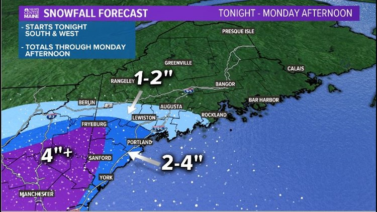 Snow Totals through Monday afternoon