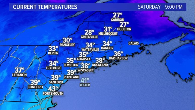 Saturday Night Observed Temperatures