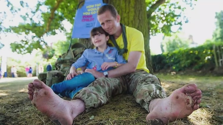 British father begins 1,200- mile barefoot walk in Maine to raise awareness for daughter's rare disorder