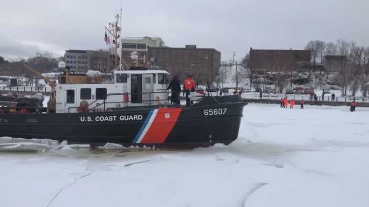 US Coast Guard ships complete first ice-breaking mission on the Penobscot River