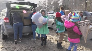 Brewer Girl Scouts give blankets to homeless