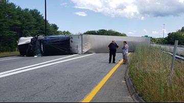 Tractor-trailer rollover blocks I-295 entry to Falmouth spur