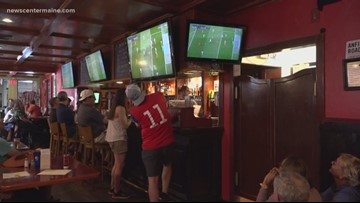 Fans in Maine cheer on the U.S. Women's World Cup soccer game