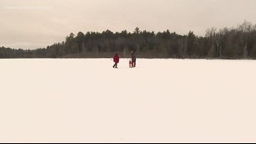 Students learn to ice fish