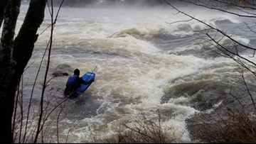VIDEO | Spring runoff makes the Androscoggin River a great ride for experienced boogie boarders
