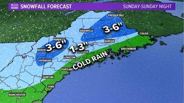 Cold coastal rain, inland snow Sunday