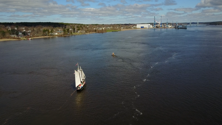 Historic 'Mary E' schooner capsizes in Kennebec River in Bath, more than a dozen passengers all accounted for police say