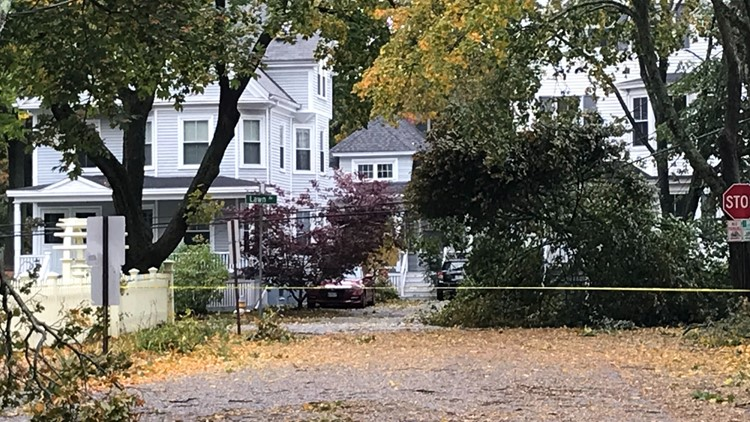 Caution tape on Lawn Ave. in Portland