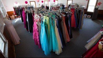 Hundreds of donated prom dresses find a new home
