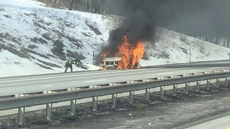 Vehicle fire slows traffic on Maine Turnpike in Falmouth