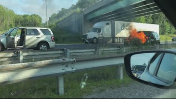 Car fire slows traffic on I-95 northbound near Scarborough